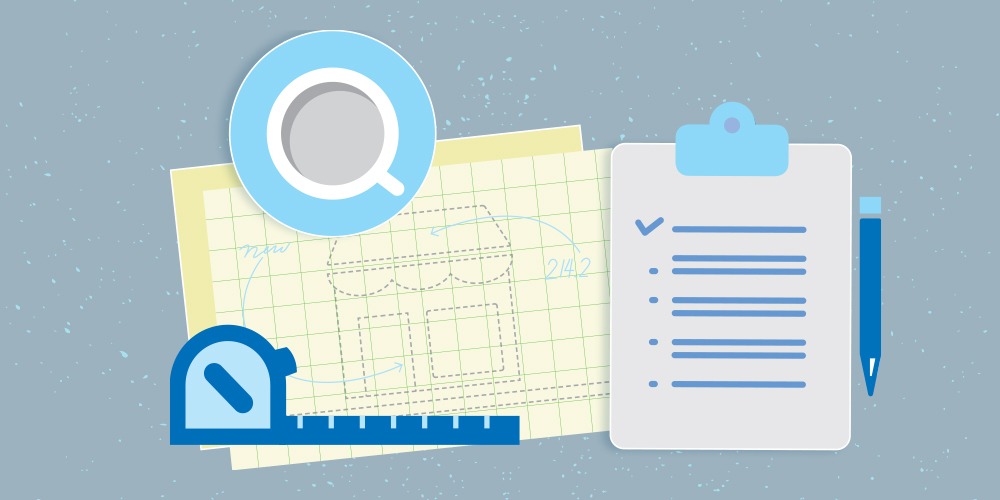 Blue monotone illustration of a flat-lay composition. The following items are arranged as if on a flat surface and viewed from above (from left to right): tape measure, cup of coffee, architectural plans, checklist on clipboard, pencil.