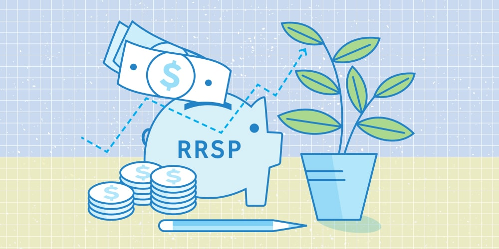 An illustration of some money flying into an RRSP piggy bank. Surrounding the piggy bank are 3 stacks of coins, a pencil, and an indoor plant.