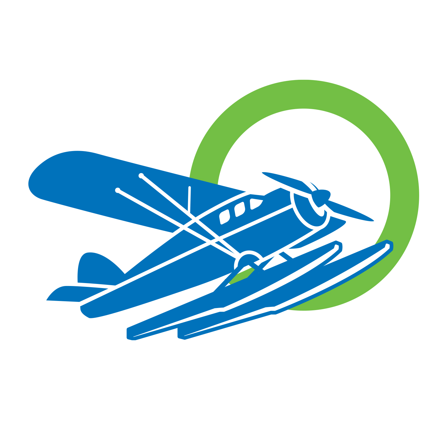 A graphic of a blue aircraft flying into a green Servus Circle