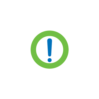 Green Servus circle with a blue exclamation point inside it. Used for member notices and alerts.
