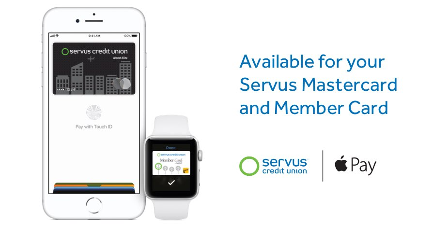 Apple Pay for your Servus Member Card and Mastercard is available for mobile phone devices and the Apple watch.